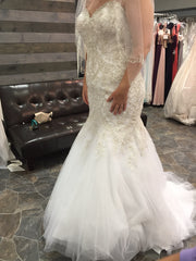 Mori Lee 'Madeline Garden' size 14 new wedding dress front view on bride