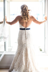 Custom 'Classic' size 12 used wedding dress back view on bride