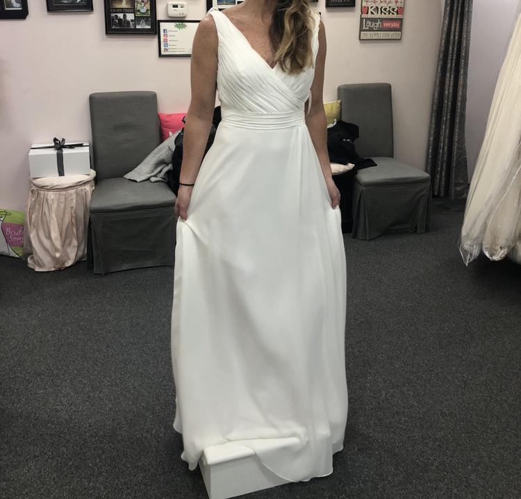 Mary's Designer Bridal Boutique 'A Line' size 8 new wedding dress front view on bride