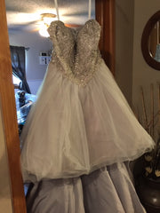 Christina Wu 'Silver/Gray Hi Low' size 8 new wedding dress back view on hanger