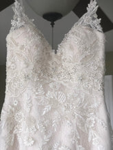 Load image into Gallery viewer, Casablanca 'Sequined Lace' size 6 new wedding dress front view on hanger