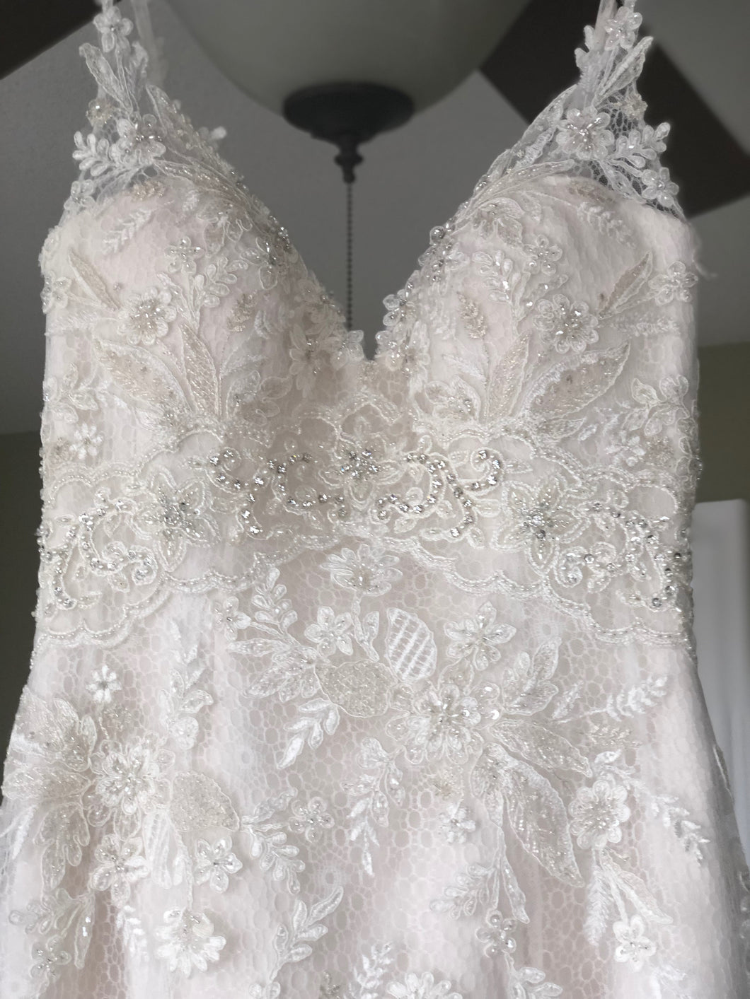 Casablanca 'Sequined Lace' size 6 new wedding dress front view on hanger