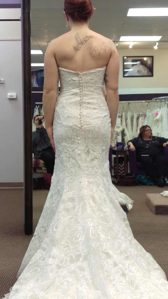 Maggie Sottero 'Fall 2015' size 8 used wedding dress back view on bride