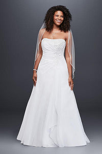 Davids Bridal 'Drape A-Line' size 10 used wedding dress front view on bride