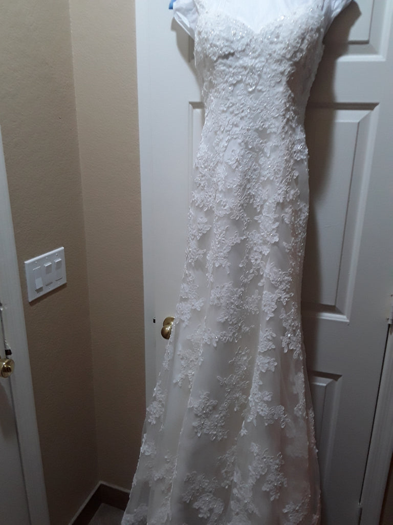 Demetrios '98241' size 6 used wedding dress front view on hanger