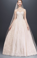 Load image into Gallery viewer, Oleg Cassini 'Strapless Petite' size 12 new wedding dress front view on model