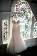 Stella York '6314' size 8 used wedding dress front view on hanger