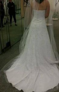 David's Bridal 'V3587' size 10 used wedding back view on bride