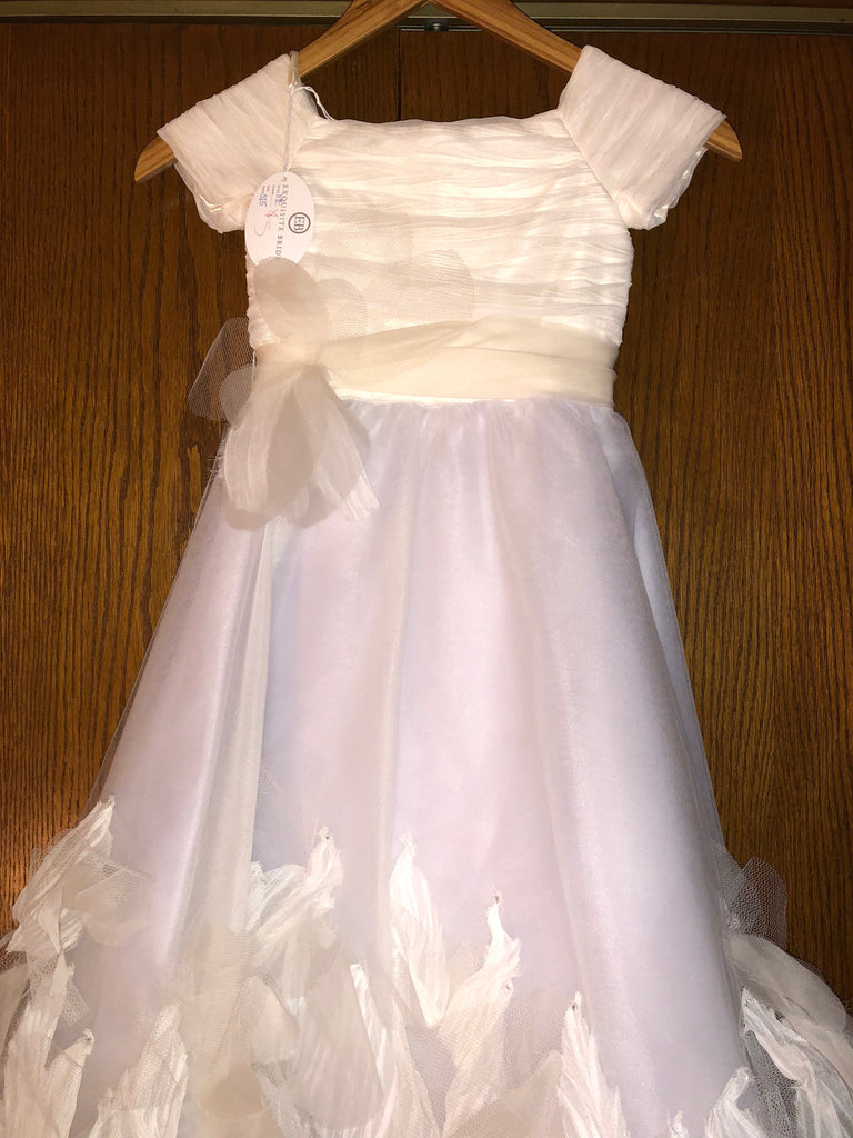 Exquisite Brides 'Ivory and Lavender Elaborate Flower Girl Dress- 118' size 8 child's flower girl dress front view
