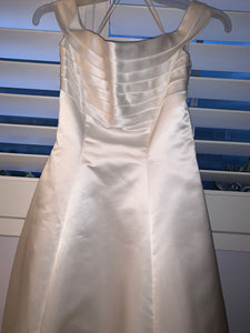 Mori Lee 'Off The Shoulder' size 4 used wedding dress front view on hanger