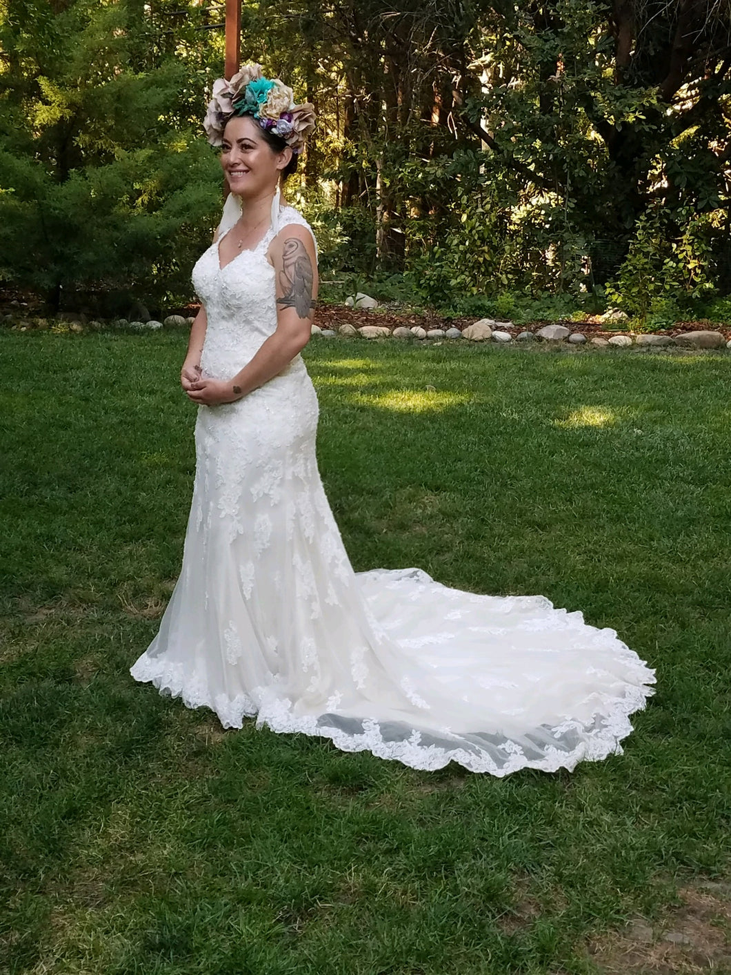 Sophia Tolli 'Robin' size 12 used wedding dress front view on bride