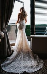 Berta 'Ivory Lace 16-102' size 4 new wedding dress back view on model