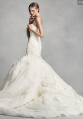 White by Vera Wang 'Bias-Tier Trumpet' size 8 used wedding dress side view on model