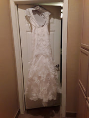Demetrios '98241' size 6 used wedding dress back view on hanger