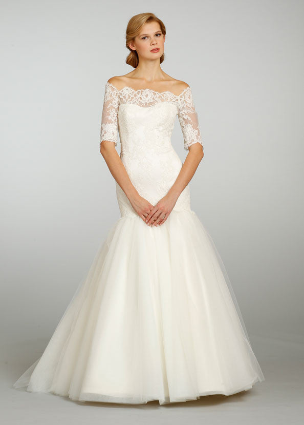 Jim Hjelm 3/4 Sleeve Lace & Tulle Ball Gown - Jim Hjelm - Nearly Newlywed Bridal Boutique - 1