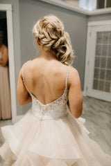 Mori Lee 'Marilyn' size 4 used wedding dress back view on bride