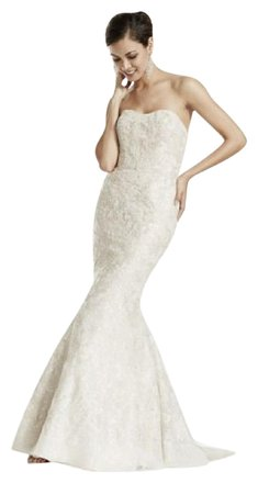 David's Bridal 'Champagne Strapless' size 4 used wedding dress front view on model