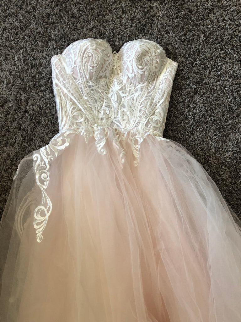 Love The Bride 'Lace and Tulle' size 2 new wedding dress front view flat