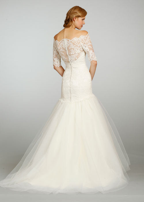 Jim Hjelm 3/4 Sleeve Lace & Tulle Ball Gown - Jim Hjelm - Nearly Newlywed Bridal Boutique - 2
