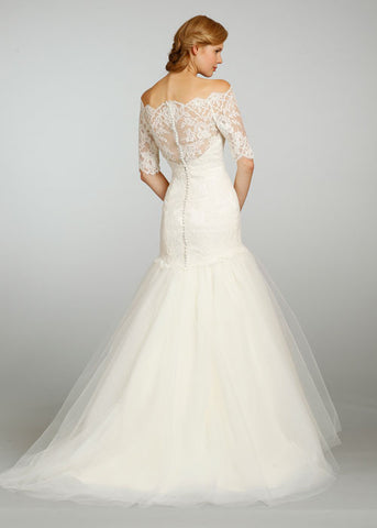 Jim Hjelm 3/4 Sleeve Lace & Tulle Ball Gown