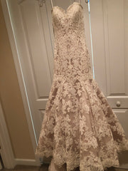 Allure Bridals '9215' size 6 used wedding dress front view on hanger