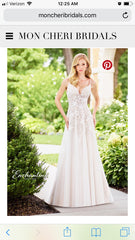 Mon Cheri Bridal '118136' size 10 sample wedding dress front view on model