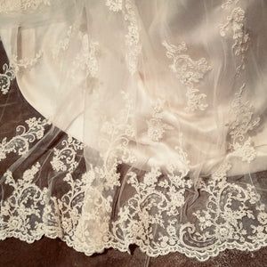 Maggie Sottero 'Emma' size 10 used wedding dress close up of fabric