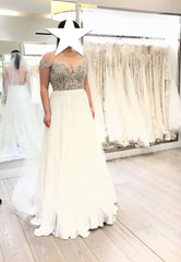 Hayley Paige 'Celine' size 12 used wedding dress front view on bride