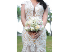 Calle Blanche 'Lydia' size 8 used wedding dress front view on bride