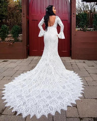 Allure Bridals 'Bell Sleeve' size 4 used wedding dress back view on bride
