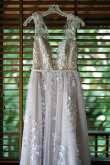 Mira Zwillinger 'Calla' size 8 used wedding dress front view on hanger
