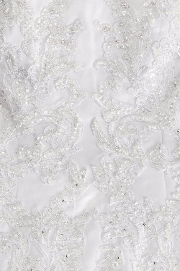 Oleg Cassini 'Satin Lace' size 2 used wedding dress close up of material