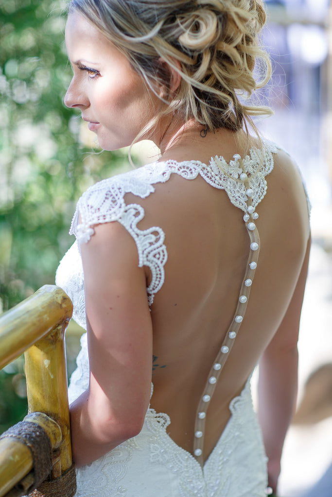 Berta '2016' size 4 used wedding dress back view close up on bride