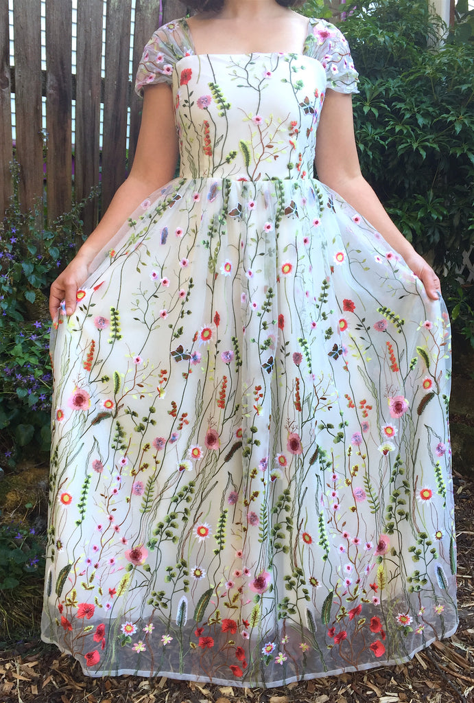 Custom 'Floral Embroidered' size 8 new wedding dress front view on bride