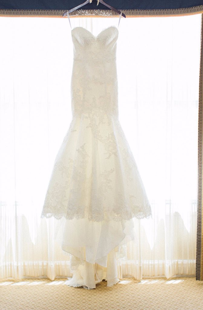 Matthew Christopher 'Amelie' size 4 used wedding dress front view on hanger