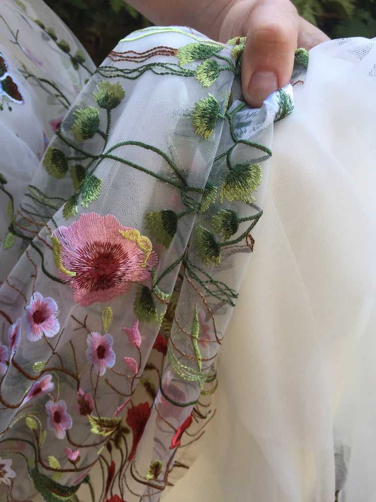 Custom 'Floral Embroidered' size 8 new wedding dress view of trim