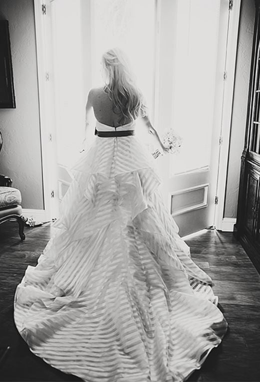 Hayley Paige 'Guindon' size 4 used wedding dress back view on bride black and white