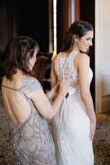 Essence of Australia '2174' size 2 used wedding dress back view on bride