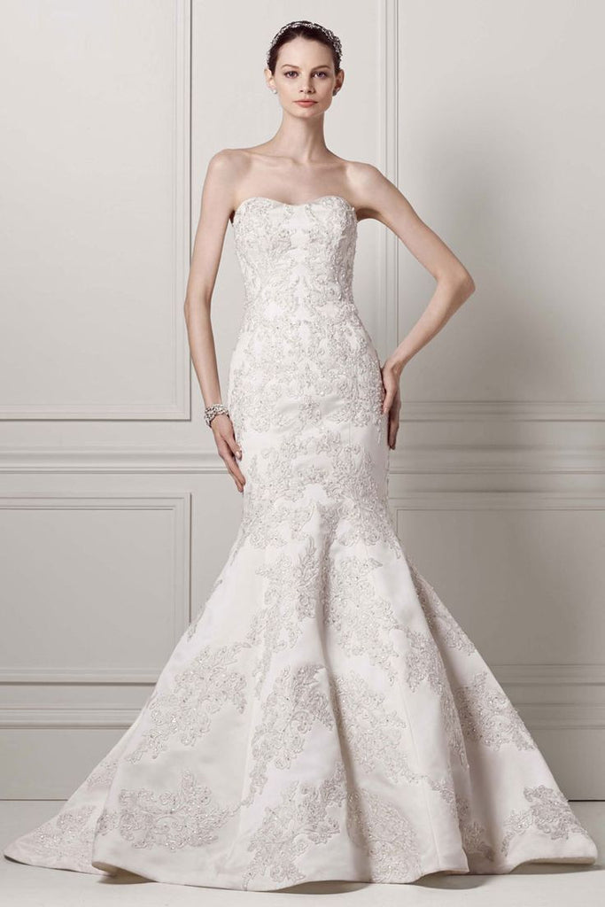 2dd84084fab8 Oleg Cassini 'Satin Lace Strapless' - Oleg Cassini - Nearly Newlywed Bridal  Boutique -