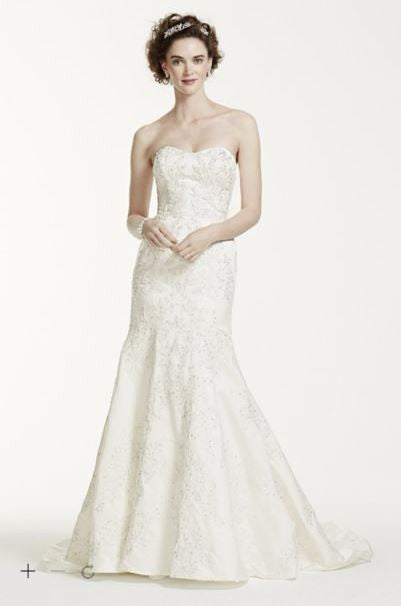 Oleg Cassini 'Satin Lace Strapless' - Oleg Cassini - Nearly Newlywed Bridal Boutique - 2