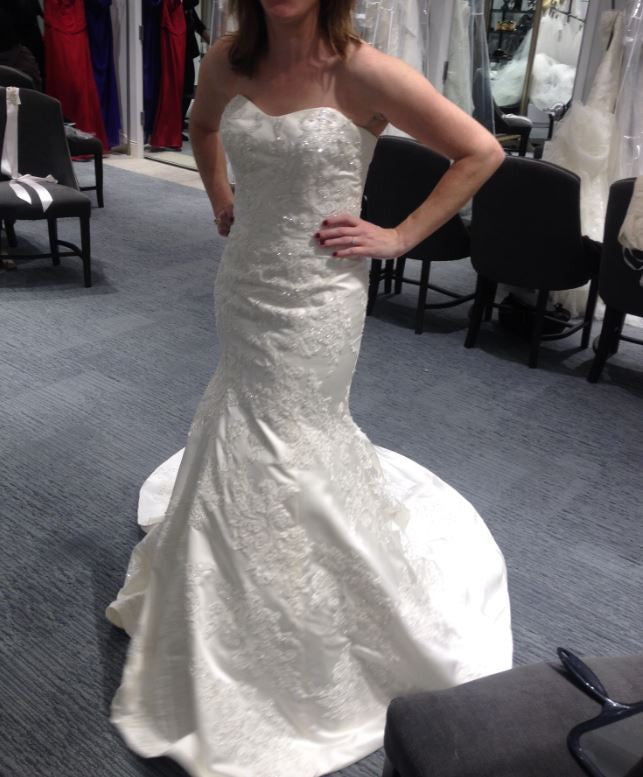 Oleg Cassini 'Satin Lace Strapless' - Oleg Cassini - Nearly Newlywed Bridal Boutique - 4