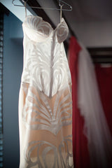 Pnina Tornai 'Butterfly' size 2 sample wedding dress front view close up on hanger
