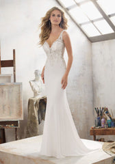 Mori Lee 'Mallory' size 10 used wedding dress front view on model