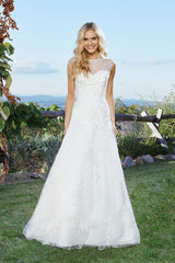 Lillian West '6432' size 6 new wedding dress front view on model