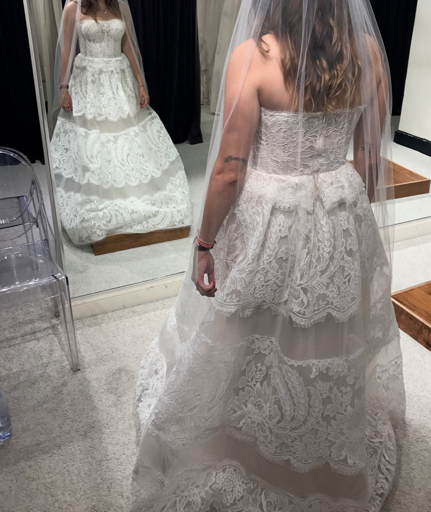 Reem Acra 'Coco' size 4 sample wedding dress back view on bride
