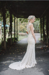 BHLDN 'Petra' size 0 used wedding dress back view on bride