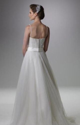 Rina Di Montella 'Beaded Corset' size 4 sample wedding dress back view on model