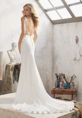 Mori Lee 'Mallory' size 10 used wedding dress back view on model