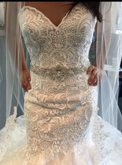 Custom 'Lace/Beaded' size 4 new wedding dress front view close up on bride