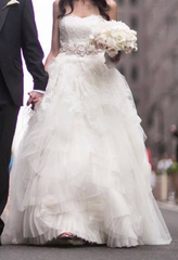 Vera Wang 'Eliza' size 2 used wedding dress front view on bride